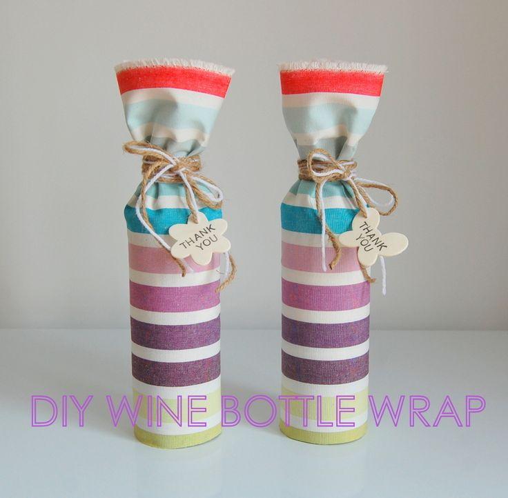 DIY wine bottle wrap #IKEA #ANNBETH fabric