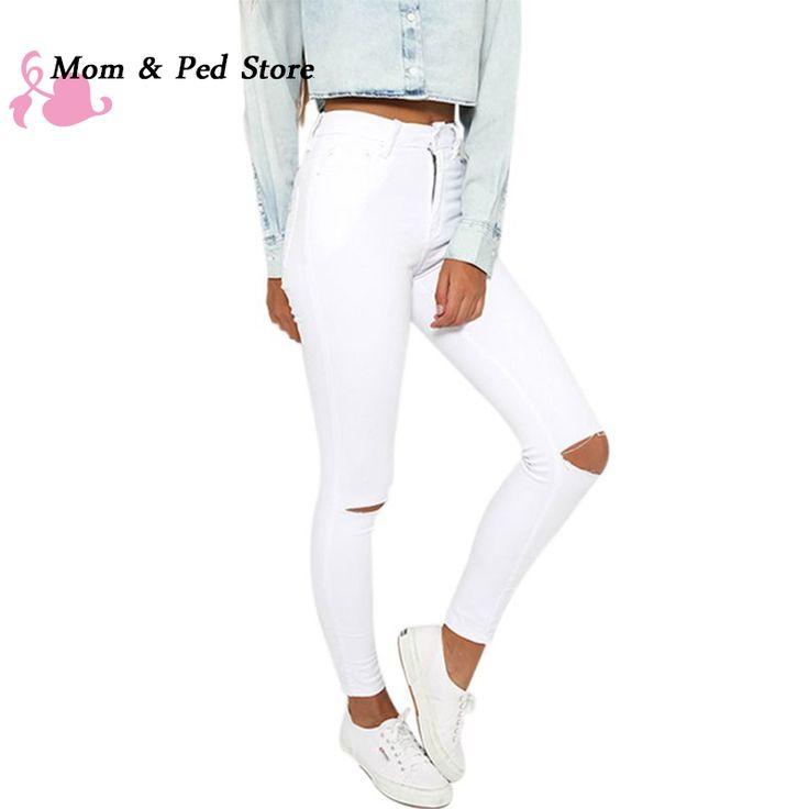 """Купить товарНовый Летний стиль белая дыра рваные джинсы Женщины jeggings прохладный джинсовые высокой талии брюки капри с Девушкой тощие черные джинсы в категории Джинсына AliExpress.   если вы любите этот деталь, пожалуйста, добавьте его в """" Список желаний """", Если вы любите наш магазин, пожал"""