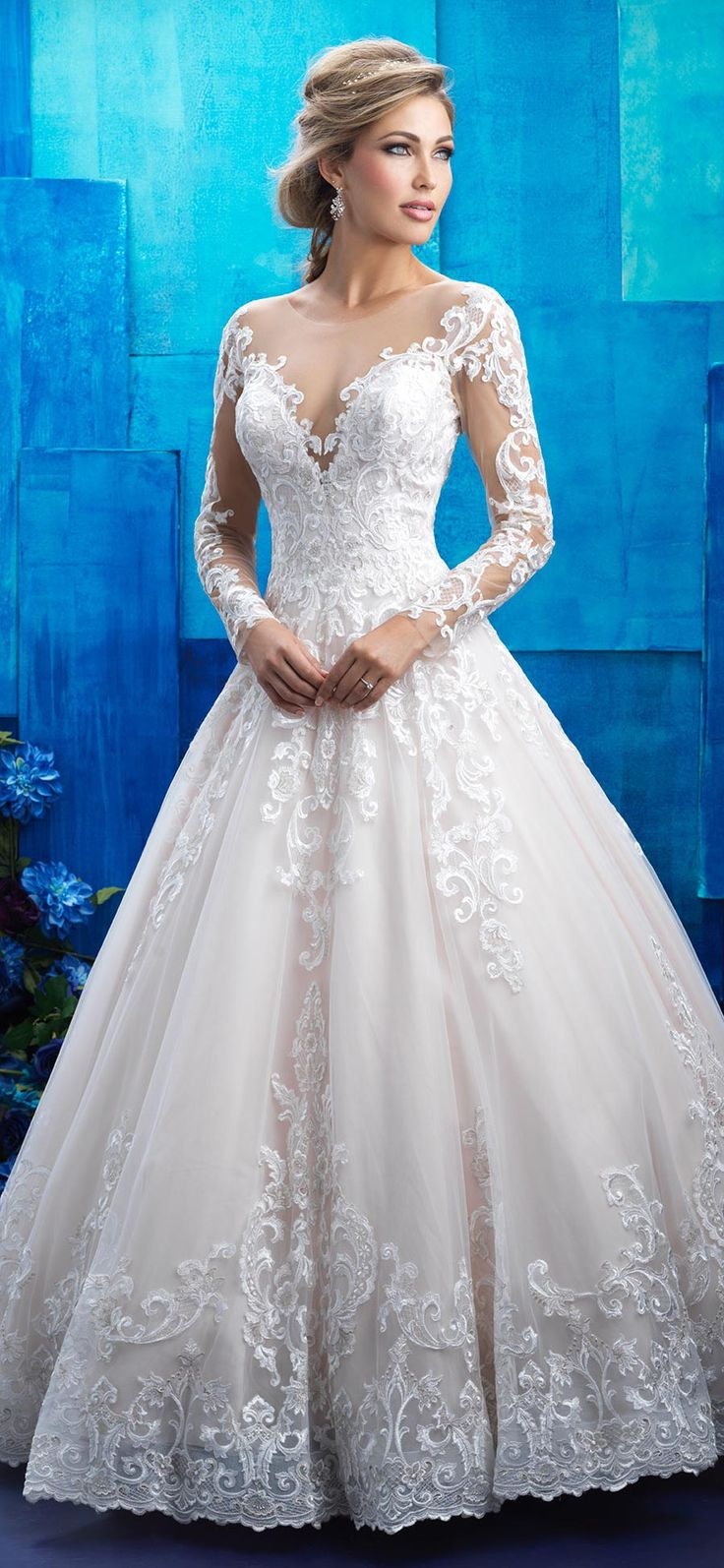 Allure Bridals style 9411. This regally romantic long sleeve lace ballgown is the stuff of dreams! @allurebridals #AllureBridal #ad #bridal #wedding #weddingdress #ballgown