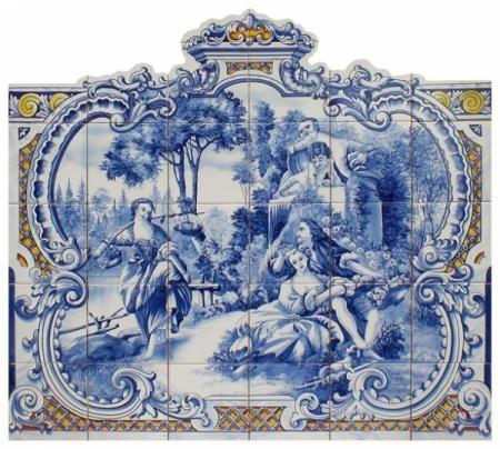 tema clássico painel de azulejos clássico azulejo,tintas ceramicas,cozedura a 800º 100% pintado á mão