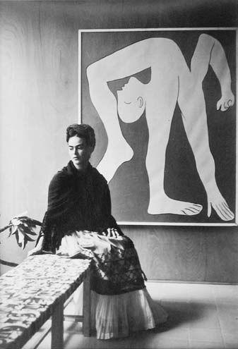 Portrait of Frida Kahlo by Manuel Álvarez Bravo  in front of Picasso-L-Acrobat: Frida Sitting, Diego Rivera, Alvarez Bravo, Picasso, Fridakahlo, Artist, Frida Khalo, Frida Kahlo, Manuel Alvarez
