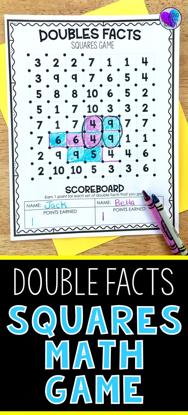 Help improve your first grade and second grade students' fact fluency by practicing double facts with this fun game. Just add it into your math rotations, math centers, Friday Fun Day, or have it available for your fast finishers. Double Facts Squares Math Game- is a simple activity to learn yet fun to play again and again.