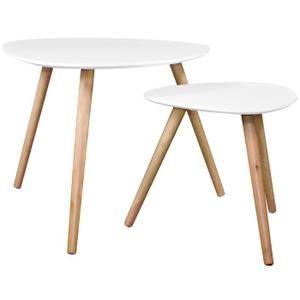 Table basse Wald blanche (lot de 2)
