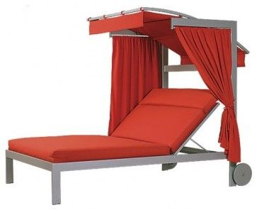 Linear Double Chaise Lounge with Wheels and Canopy contemporary outdoor chaise lounges
