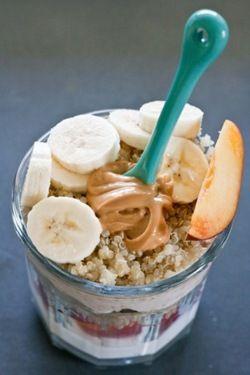 Pure protein and good health.. layering healthy food on the go..Greek yogurt, granola, fruit, peanutbutter, ec.