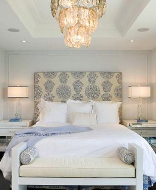 cool headboard: Idea, Benches, Decoration, Bedrooms Design, Masterbedroom, Head Boards, White Bedrooms, Master Bedrooms, Upholstered Headboards