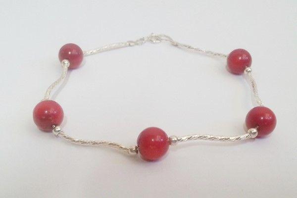 bracelet argent avec perles