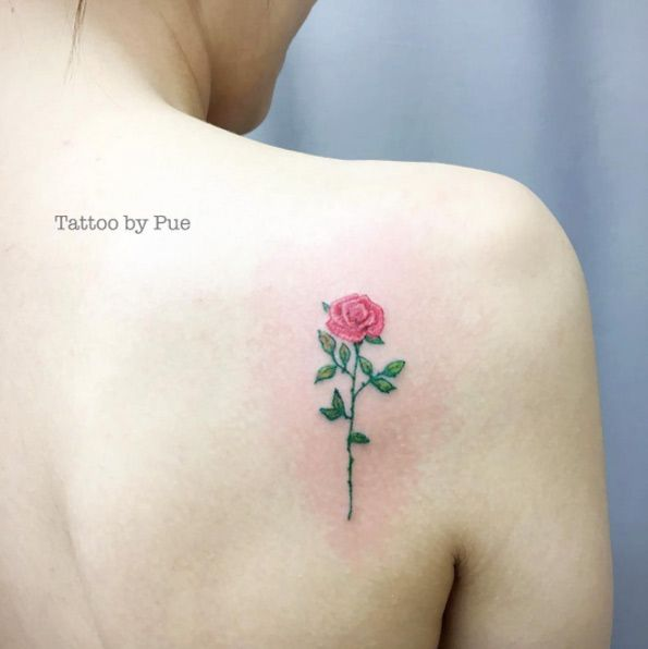 flower floral rose watercolour beauty and the beast disney tattoo