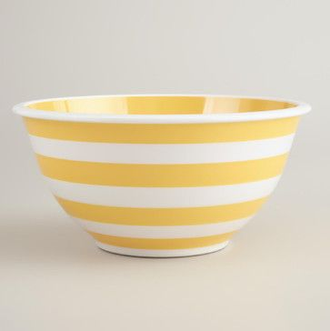 Yellow and White Striped Mixing Bowl transitional-mixing-bowls