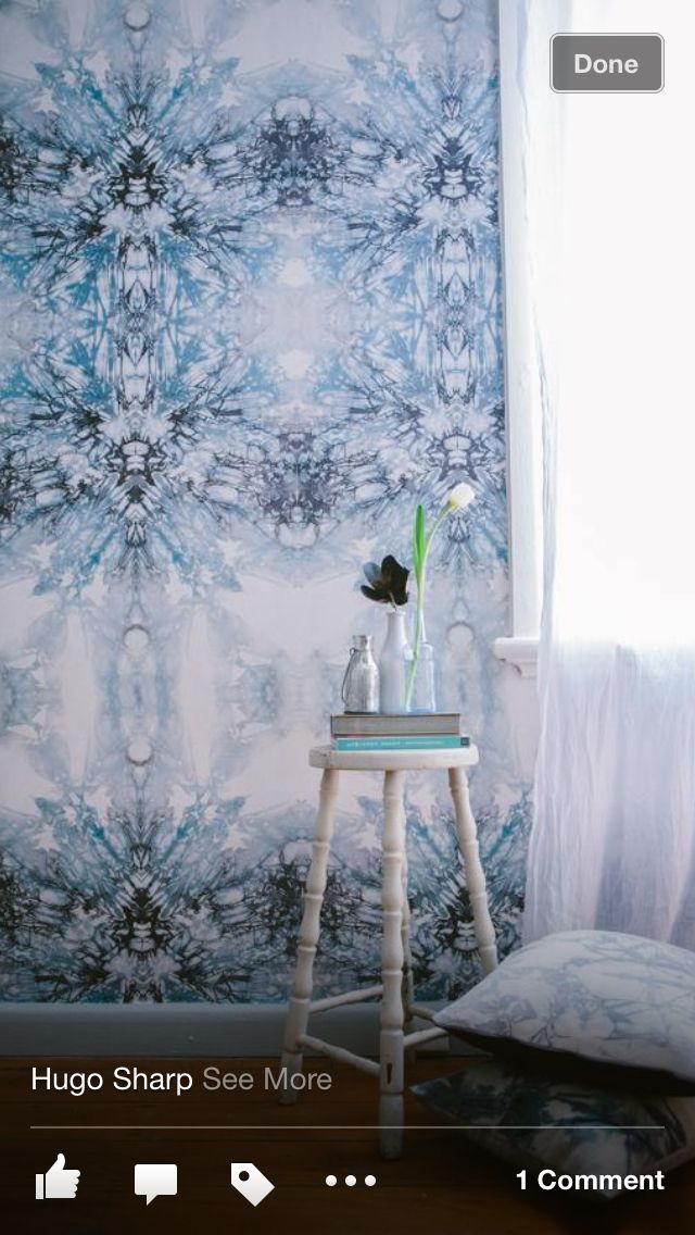 Emily Ziz style studio. Shibori wallpaper.