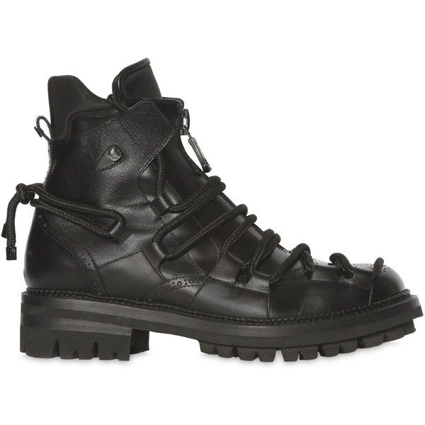 Dsquared2 Men Lace-up Leather Combat Boots ($1,160) ❤ liked on Polyvore featuring men's fashion, men's shoes, men's boots, black, mens leather boots, mens army boots, mens leather lace up shoes, mens combat boots and mens boots