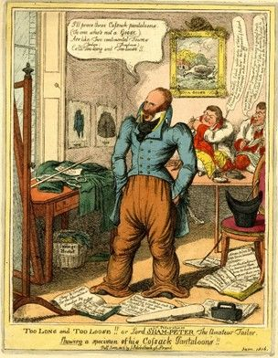 'Too long and too loose!! Or Lord Sham-Peter the amateur tailor', 1815, by Charles Williams. Among the papers in the foreground, 'Stays & Corsets for the Masculine Gender by Sham Peter' and 'Stays & Corsets masculine'.