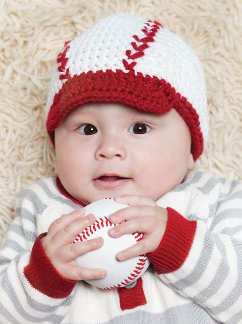 Free Crochet Baseball Baby Hat Pattern.