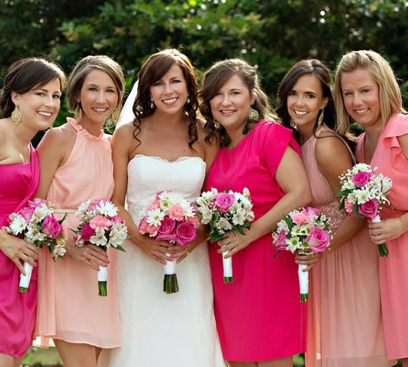 Shades of pink, spring wedding bridesmaids dresses #Wedding #Planning ideas https://itunes.apple.com/us/app/the-gold-wedding-planner/id498112599?ls=1=8 plus tips on how to keep your costs down, with lots of budget ideas ... For more pink wedding ideas http://pinterest.com/groomsandbrides/boards/ ♥♥♥♥ … #blue #wedding #ceremony #reception #bride #bridesmaids #groom #groomsmen #bouquets #dresses #rings #cakes #tables #favors #ideas …