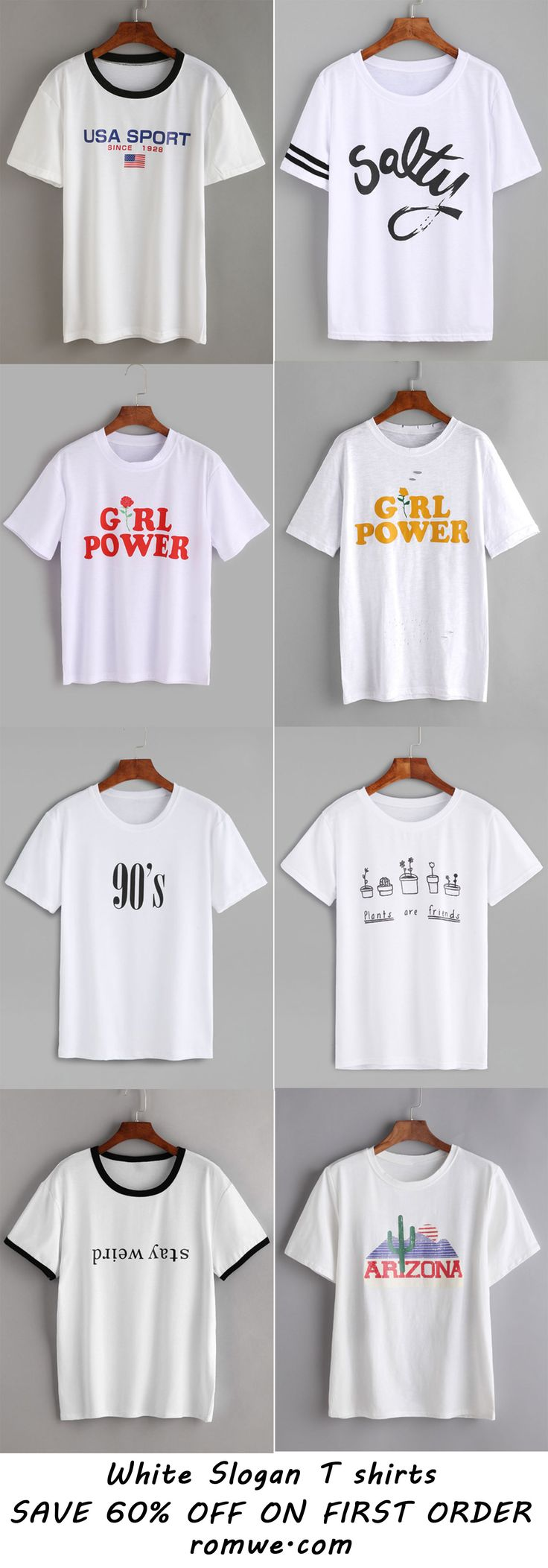 Cool Slogan T shirts with soft material and low price begin at US$3.99 from romwe.com