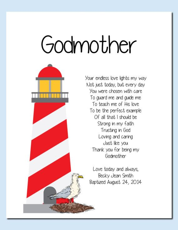 Godmother Gift Gift with Lighthouse -  from Godchild Baptism Keepsake by vtdesigns, $9.00