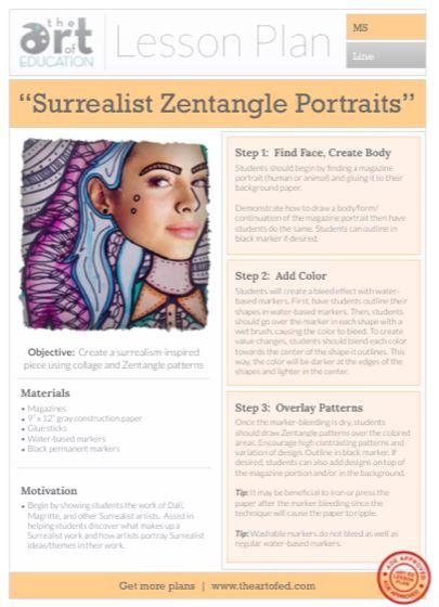 Surrealist Zentangle Portraits: Free Lesson Plan Download