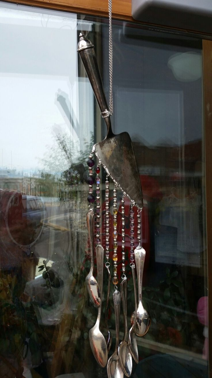 Wind chimes with vintage spoons & crystals