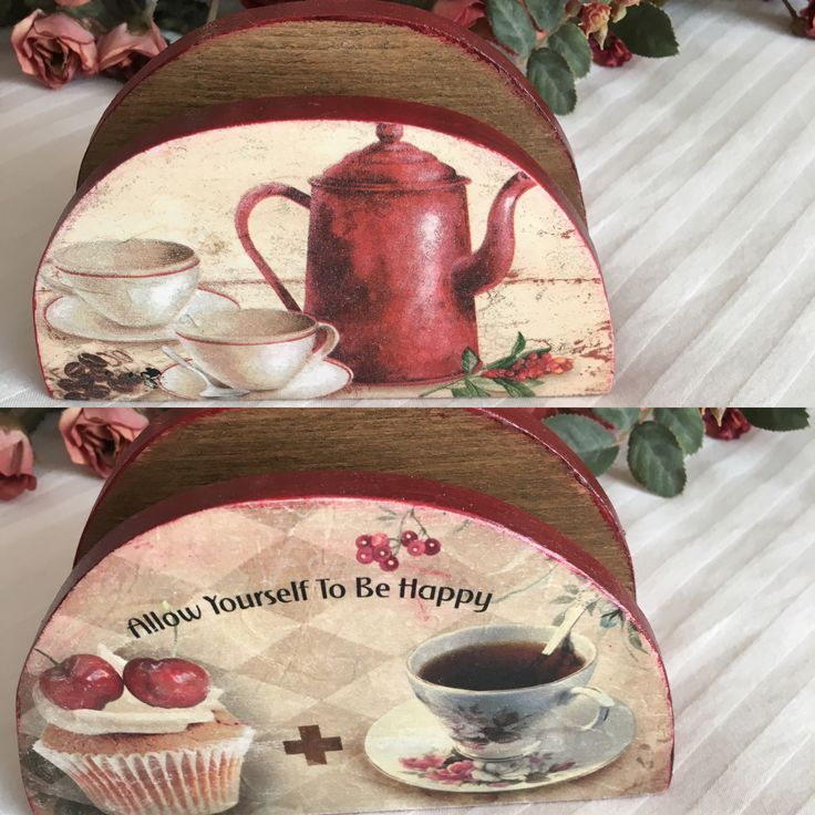 Napkins holder with decoupage