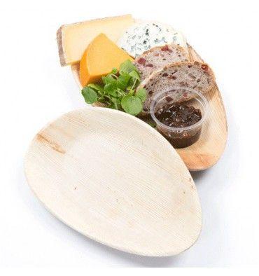 Pratos oval de Folha de Palmeira 26x16x2,5cm, em Cor Madeira. Pratos adequados para uso no micro-ondas. O preço (13,48€) é para 25 Unidades.