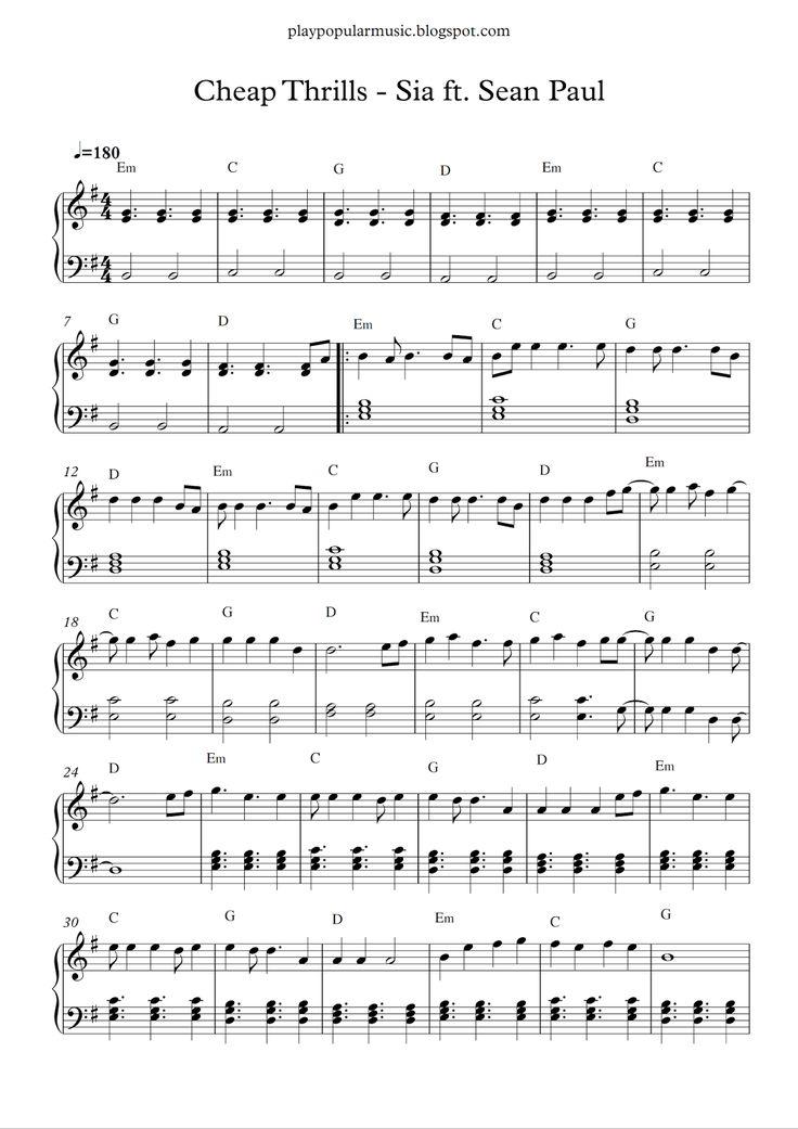 Free piano sheet music: Cheap Thrills - Sia ft. Sean Paul