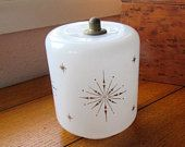 Gold Starbursts On White Frosted Glass Ceiling Light Cover Vintage Mid Century Atomic