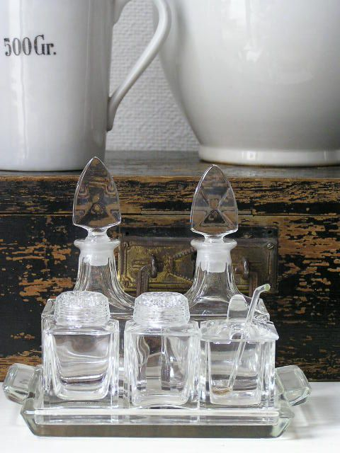 oud menages setje van kristal || old vintage style * home  decoration *  inspiration * brocante webshop