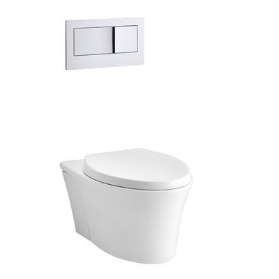 Kohler Veil One-Piece Elongated Dual-Flush Wall-Hung Toilet with Reveal Quiet-Close Seat Finish: White