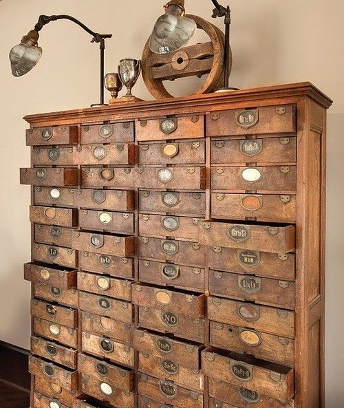 Vintage Library Card Catalogs Transformed Into Awesome Furniture Sheer beauty.