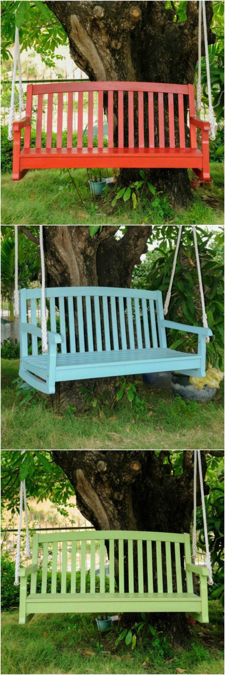 Colored porch swings outdoor living pinterest - Columpios para jardin ...