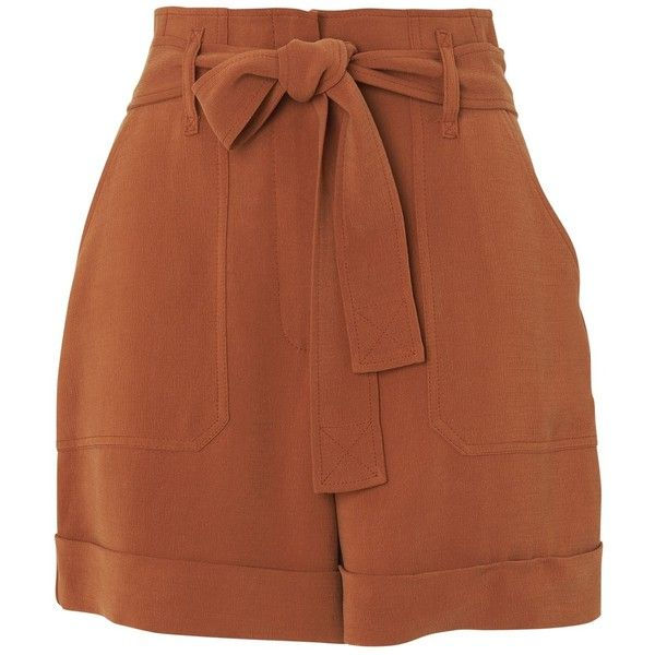 Whistles Cargo Pocket Shorts, Rust ($160) ❤ liked on Polyvore featuring shorts, short, summer shorts, high waisted short shorts, high-waisted shorts, utility shorts and slim shorts