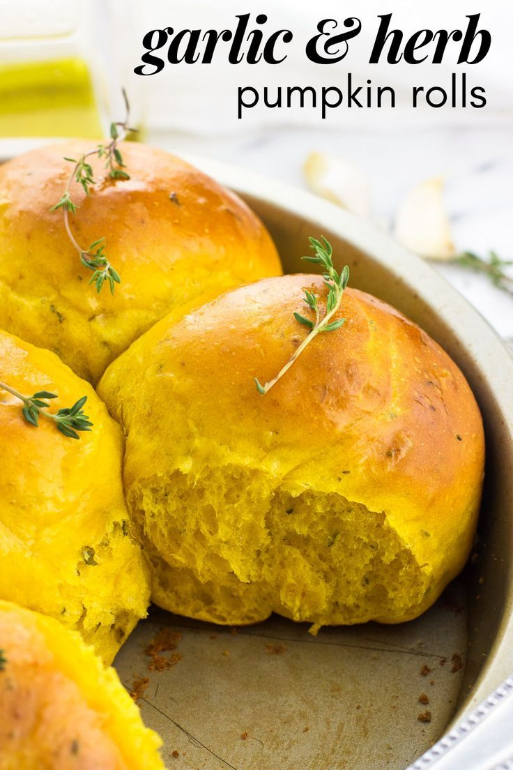 Garlic And Herb Pumpkin Dinner Rolls Are Perfectly Flaky And