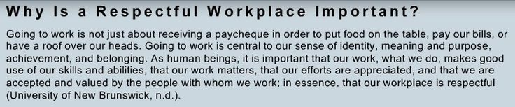 Why is a respectful workplace important?