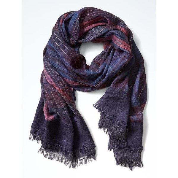 Banana Republic Shimmer Madras Scarf ($58) ❤ liked on Polyvore featuring accessories, scarves, banana republic, metallic shawl, metallic scarves, wool scarves and banana republic scarves
