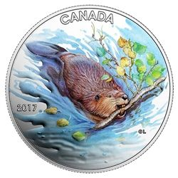2017 $10 iconic Canada: the beaver - pure silver coloured coin.