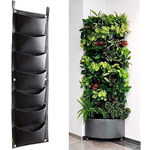 KORAM 7 Pockets Vertical Garden Wall Planter Living Hanging Flower Pouch Green Field Pot Felt Indoor/Outdoor Wall Mount Balcony Plant Grow Bag for Herbs Vegetables and Flowers (10pcs of Plant tags) #vegetablesindoor