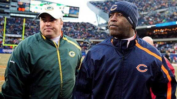 Chicago Bears Head Coach Lovie Smith and Green Bay Packers Head Coach Mike McCarthy #Bears #Packers