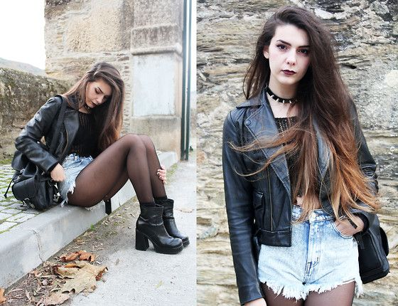 Pepe Jeans Leather Jacket, Fishnet Croptop, Unif Acid Wash Shorts, Vintage Chunky Boots