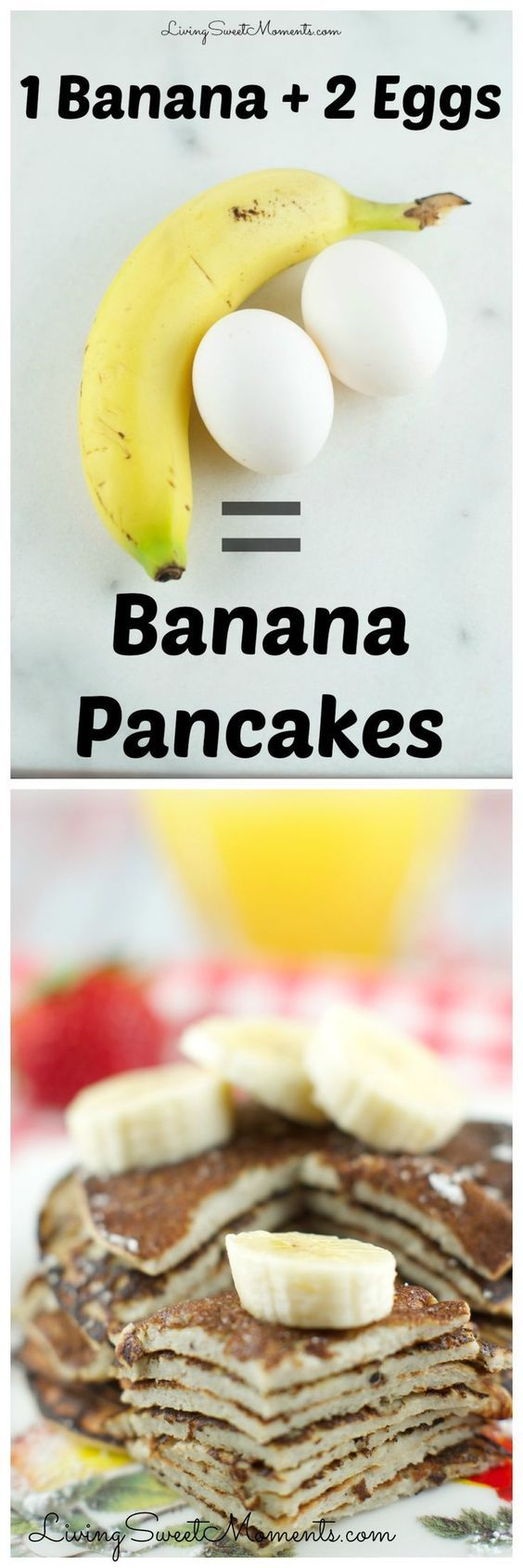 These 2 Ingredient Banana Pancakes are so easy to make! All you need is 2 eggs and a banana in a blender! That's it. They are gluten free and so delicious.