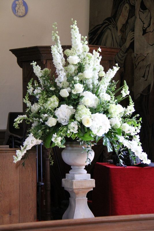 """he pedestals were truly glorious, White Delphiniums towered over the Alliums, fragrant Norma Jean Roses, White Peonies, Stocks, Antirhinnums, Phlox, Nigella, Hydrangeas and Philadelphus """"Snowbelle"""""""