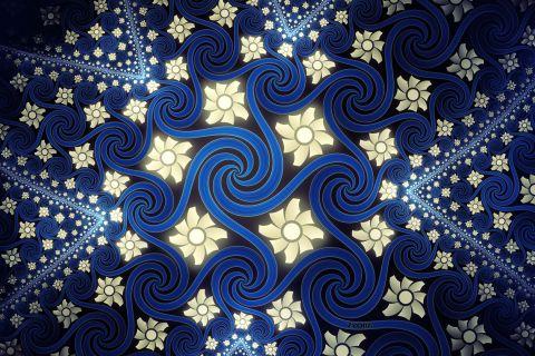 Φόντα αφηρημένη μπλε λουλούδια ψηφιακή τέχνη