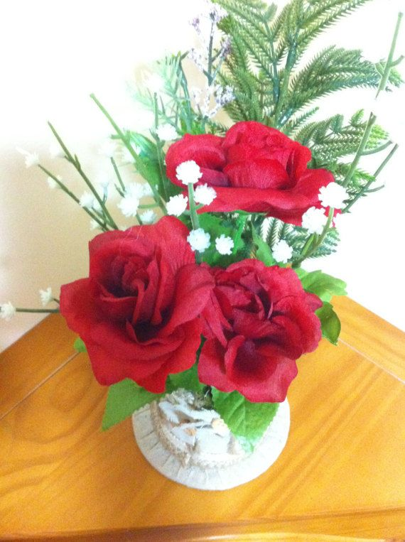 Red Roses Silk Floral Arrangement/Floral by Universalideas on Etsy