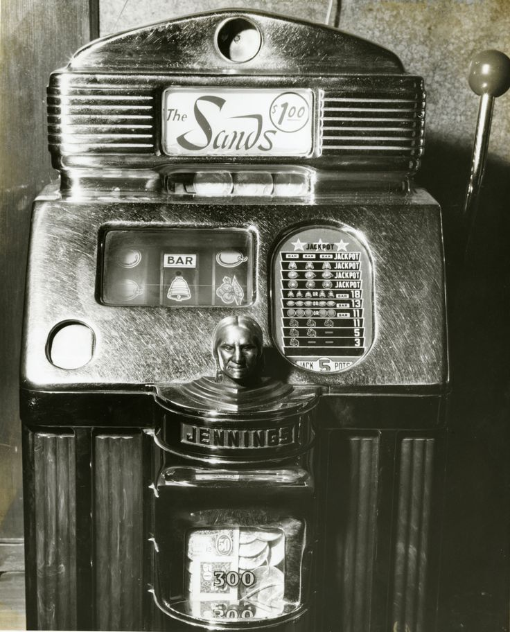 A $1.00 slot machine from the Sands Hotel and Casino in Las Vegas, circa late 1950s.  Part of the UNLV Libraries photo digital collection.  #UNLV