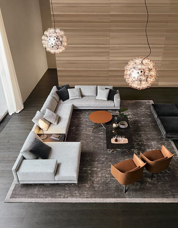 Mondrian sofa in removable fabric Olimpia 11 polvere, cushions Persia 1404 carbone and Olimpia 11 polvere with cross insert Persia 1404 carbone, integrated table and wooden backrest with shelves in black elm.