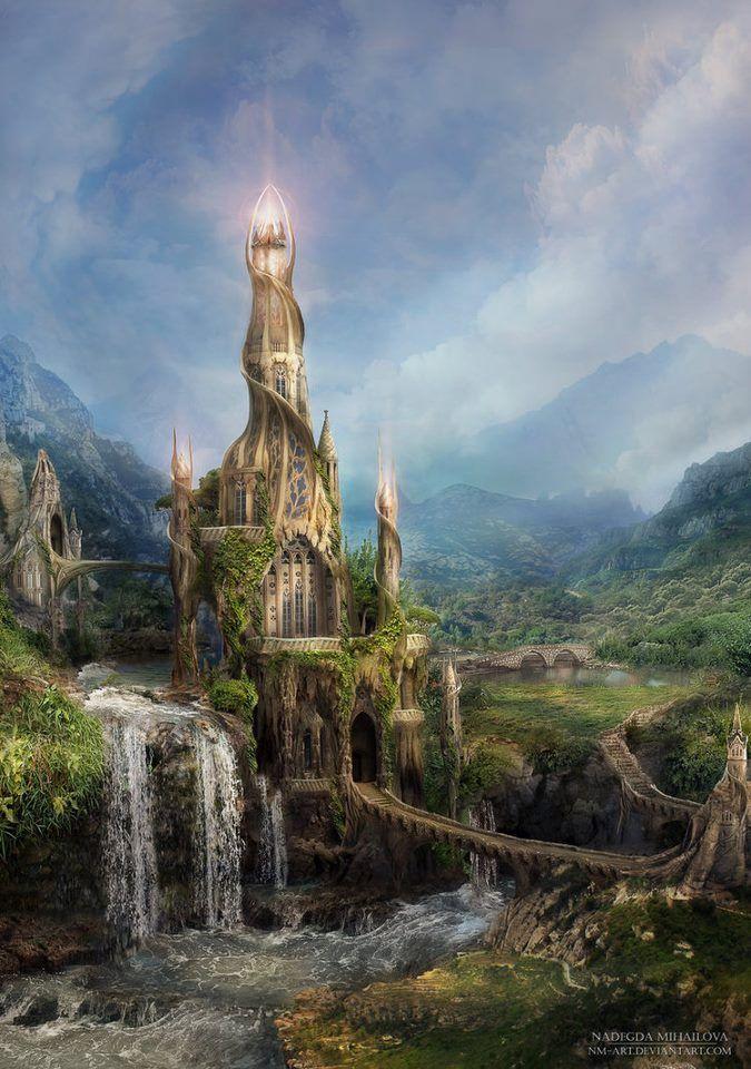 Fantasy landscape Wizard's Tower - Russian Artist Nadegda Mihailova: