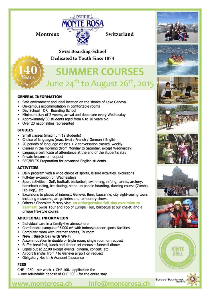 Monte Rosa Swiss boarding school offers great memories from the summer boarding courses! http://www.monterosa.ch/en/Summer-Holiday-Courses/Summer-Holiday-Courses.html