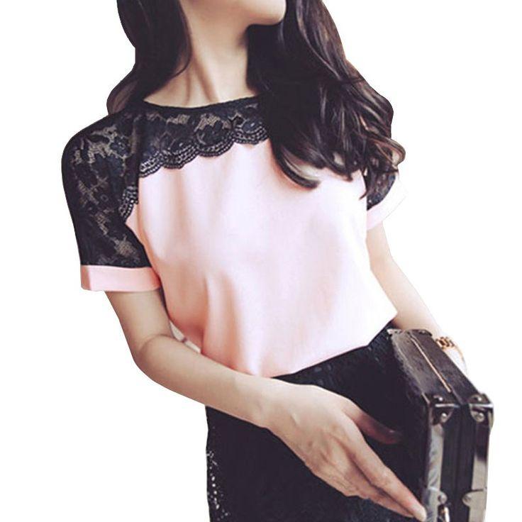 女性ブラウス夏レースシフォンブラウス2017 blusa femininaトップスファッションシュミーズファムシャツプラスサイズ4xl赤白ピンク