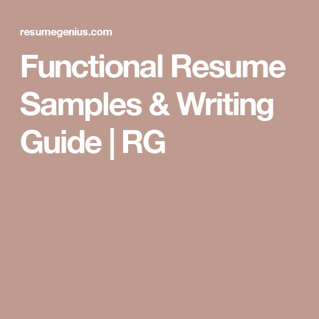 writing a functional resume View samples of functional format resumes for middle management careers and  supervisory jobs from resume world in toronto.