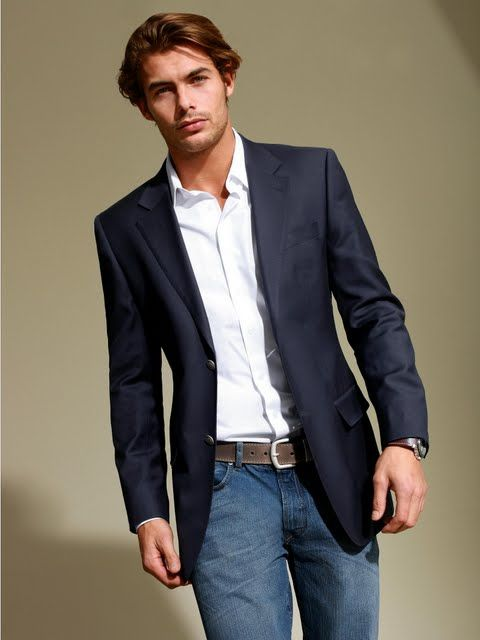 A men's blazer is a mix of a sports jacket and suit jacket and does not include matching dress pants. Try a casual look with our Tech System Blazer, or dress it up with our Slim Cotton Sateen Blue Suit Jacket. How a men's blazer should fit? A men's blazer should be slimming with enough room in the shoulders and sleeves that hit your wrists.