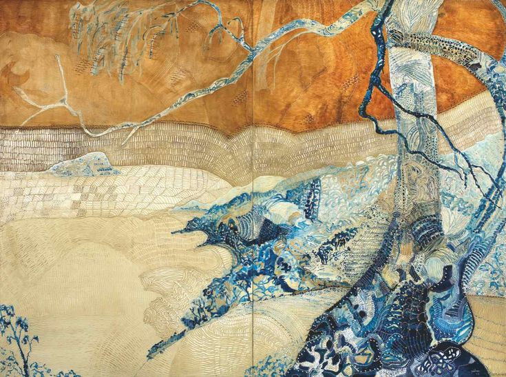 Lion Island - Pittwater, oil and cane on carved board, 153 x 203 cm